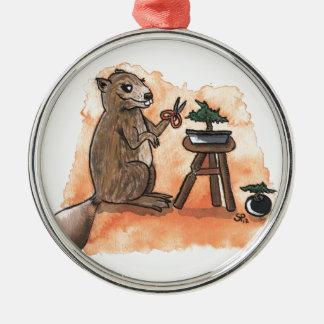 Bonsai Beaver Silver-Colored Round Decoration