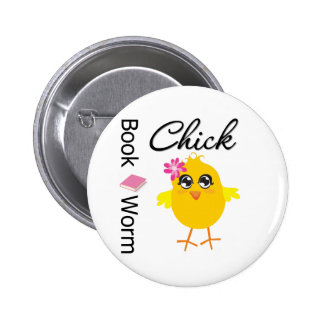 Book Worm Chick 6 Cm Round Badge