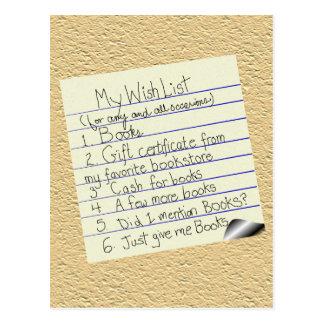 Booklover's Wish List Postcard