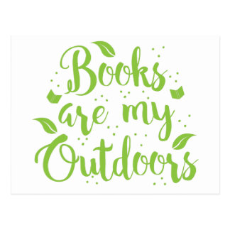 books are my outdoors postcard