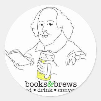 Books & Brews Logo Round Sticker