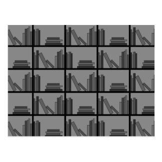 Books on Shelf. Gray and Black. Postcard