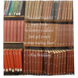 Bookshelves and Ray Bradbury Quote Shower Curtain
