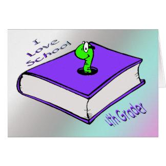 Bookworm 4th Grader - I love School Greeting Card