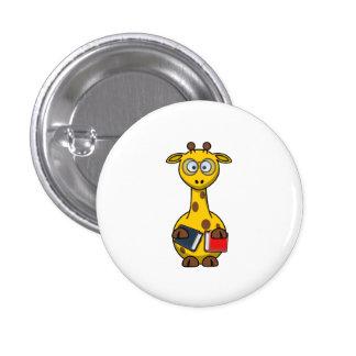 Bookworm Giraffe Art 3 Cm Round Badge