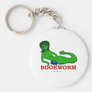 Bookworm Girl Basic Round Button Key Ring