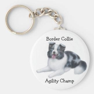 Border Collie Agility Champ Keychain