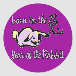 Born in the Year of the Rabbit Chinese Zodiac Round Sticker