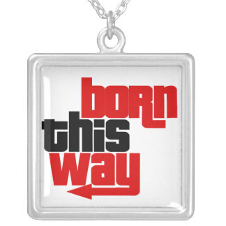 Born this way square pendant necklace