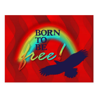 Born To Be FREE | red waves Postcard