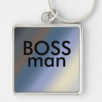 BOSS man key-ring Silver/steal blue blends Silver-Colored Square Key Ring