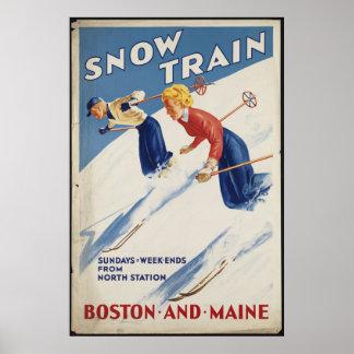 Boston Maine Vintage Travel Poster Ad Retro Prints