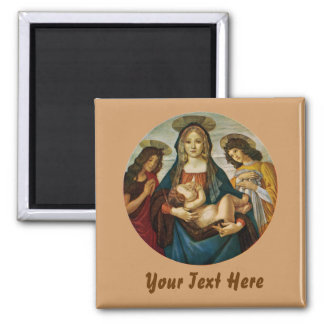 Botticelli's Madonna And Child Square Magnet