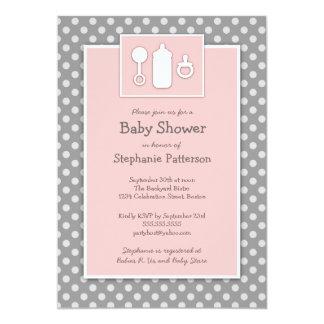 Bottle Binky Rattle Baby Shower Pink & Gray 13 Cm X 18 Cm Invitation Card