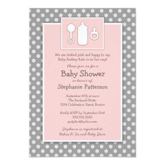 Bottle Binky Rattle Tickled Pink Baby Shower 13 Cm X 18 Cm Invitation Card