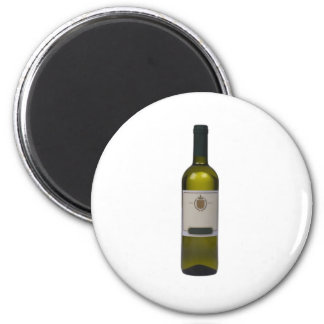 Bottle of quality wine with blank label 6 cm round magnet