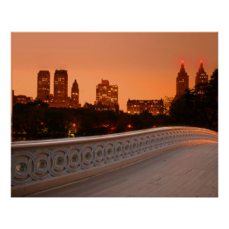 Bow Bridge at Twilight in Central Park, NYC Poster