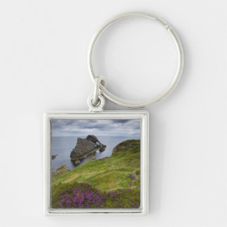 Bow Fiddle Rock, Portknockie, Scotland Silver-Colored Square Key Ring