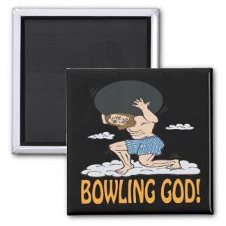 Bowling God Square Magnet
