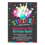 bowling invitation, bowling birthday invite
