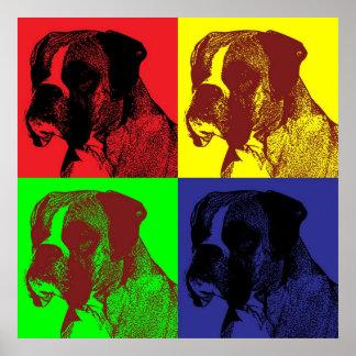 Boxer Dog Pop Art Style Poster