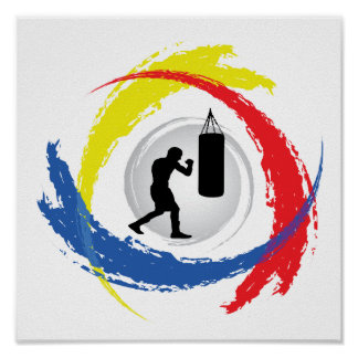 Boxing Tricolor Emblem Poster