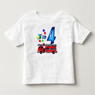 Boy 4th birthday fire engine shirt