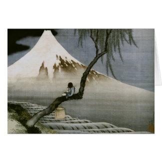 Boy and Mount Fuji Hokusai Japanese Fine Art Note Card
