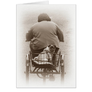 Boy And Pug Dog Going For A Ride Card