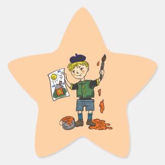Boy Artist and Artwork 2 Star Sticker