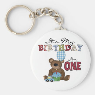 Boy Bear 1st Birthday Tshirts and Gifts Basic Round Button Key Ring