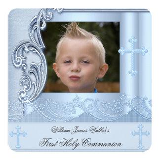 Boy First Holy Communion Blue Photo Confirmation 2 13 Cm X 13 Cm Square Invitation Card