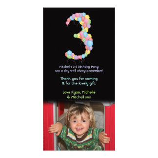 Boy Girl 3rd Birthday Balloons Thank You Photo Picture Card