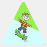 Boy On Skateboard Triangle Sticker