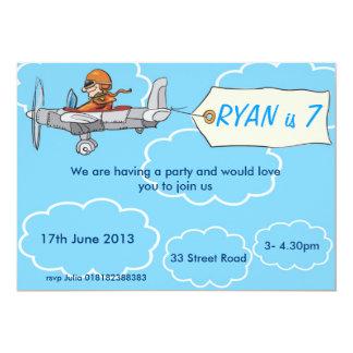 Boys Airplane Birthday Invitation