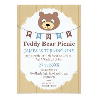Boys Teddy Bear Picnic 1st Birthday Invitation