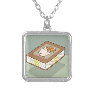 Brain book square pendant necklace