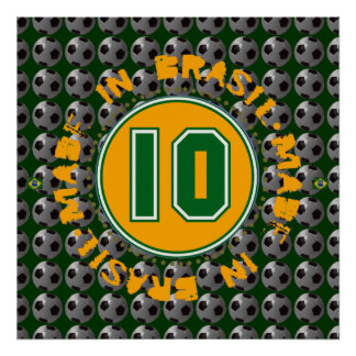 brasil 10 football wall decor poster