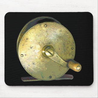 Brass Fishing Reel 1800's Mouse Pad