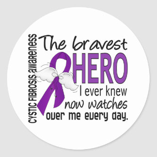Bravest Hero I Ever Knew Cystic Fibrosis Round Sticker