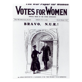 Bravo, N.U.R!, front cover of 'Votes for Postcard