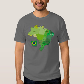 Brazil Flag and Political Map Tshirt