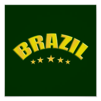Brazil yellow and green Soccer Logo Soccer Sports Poster