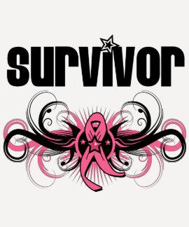 Breast Cancer Survivor Grunge Winged Emblem Tee Shirt