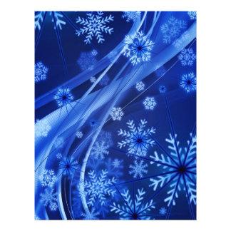 Breezy Christmastime Snowflakes on Blue 21.5 Cm X 28 Cm Flyer