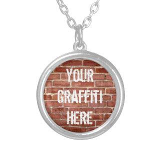 Brick Wall Personalized Graffiti Round Pendant Necklace