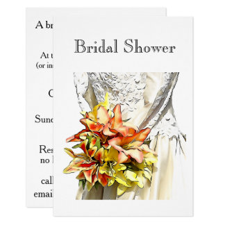 Bridal Dress with Orange Lily Bouquet invitations