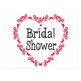 Bridal Shower Black And Red Heart Invitation Postcard