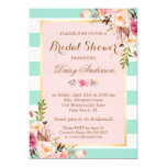 Bridal Shower Floral Baby Pink Mint Green Stripes 13 Cm X 18 Cm Invitation Card