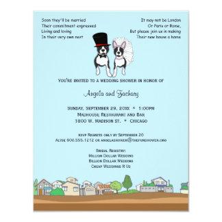Bride And Groom Boston Terrier Wedding Shower 11 Cm X 14 Cm Invitation Card